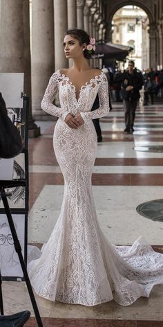 mermaid wedding dresses with long sleeves full lace deep v neckline tarik  ediz Esküvői Dekoráció 4ab31f3ce6