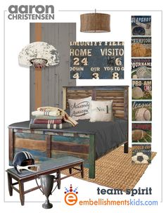 Vintage Football Scoreboard Sports Art by EmbellishmentsStudio combined with some industrial and vintage look furniture, perfect for teen rooms.