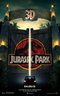 Jurassic Park 3D poster, coming to cinemas April 2013 to celebrate the 20th Anniversary of this movie.