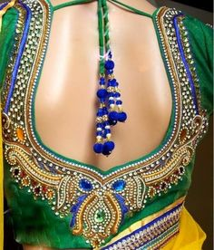 """Stone Work Bridal Saree Blouse, Celebrity Sarees"""