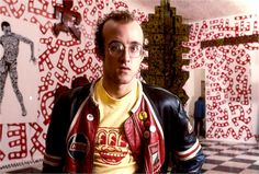 keith haring with pins... if you look closely you can see a grace jones button pin...