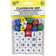 Classroom set of 31 dice. Includes assorted fractions, whole numbers, operators and polyhedrals. Will answer the need for math manipulatives and challenge the m