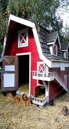 Building a Chicken Coop Cute barn chicken coop Building a chicken coop does not have to be tricky nor does it have to set you back a ton of scratch. Backyard Chicken Coops, Chicken Coop Plans, Building A Chicken Coop, Diy Chicken Coop, Chickens Backyard, Fancy Chickens, Chicken Feeders, Chicken Tractors, Chicken Barn