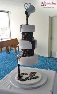 3 Tier Chocolate Waterfall Wedding Cake
