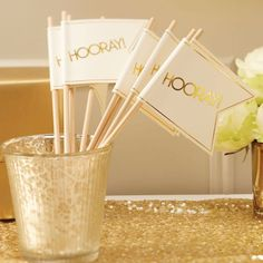 These 'Hooray!' flags make a great alternative to the usual tissue confetti. Perfect for an ivory or gold themed wedding day - Metallic Perfection at GingerRay.co.uk