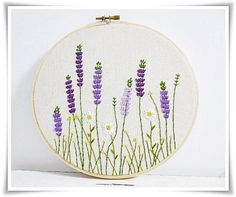 Lavender garden daisy garden hand by KawaiiSakuraHandmade on Etsy garden daisy garden hand embroidery in hoop wall art - - Lavender garden daisy garden hand embroidery in hoop wall artSize of hoop or 7 inches It is ready to be hang on t Embroidery Hoop Crafts, Crewel Embroidery, Hand Embroidery Patterns, Ribbon Embroidery, Floral Embroidery, Cross Stitch Embroidery, Embroidery Letters, Embroidery Supplies, Band Wand
