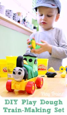 Play Dough Train Set from Play Trains! put together a train-making set for kids with play dough and Duplo bricks.
