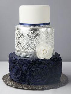 Resultado de imagen para wedding cake navy blue