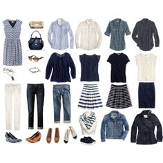 Complete wardrobe in blue and cream