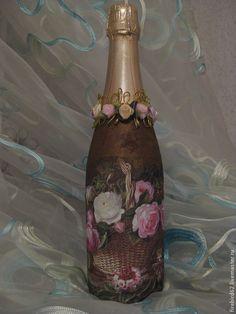 """Подарочное оформление бутылок ручной работы. Ярмарка Мастеров - ручная работа """"Букет"""" Подарочное шампанское. Handmade."""