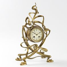 French Art Nouveau Gilt Bronze Mantel Clock by Victor Horta