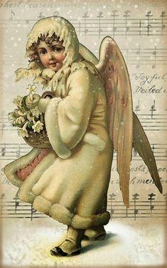 "Retro Free Printable Mini Kit ""Angels Among Us"". Snow Angels, Christmas Angels, Christmas Art, Winter Christmas, Crochet Christmas, Christmas Bells, Christmas Stocking, Vintage Clip Art, Vintage Cards"