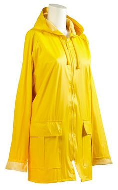 Stay bright, sunshiny, and dry with totes rain slicker in yellow! This classic rain coat features an attractive printed lining, a drawstring hood, and is water resistant. #totesraingear