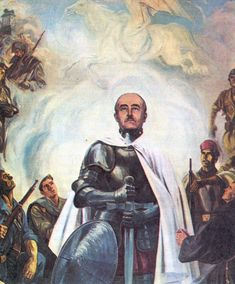 Here is Spain's former dictator Francisco Franco portrayed as a crusader. And yes, he is still dead. Killed In Action, German Army, Second World, Spanish, War, Dan Brown, Painting, Public Domain, Poster