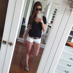 Black n white Anne Curtis Outfit, Celebrity Outfits, Celebrity Style, Anne Curtis Smith, Black N White, Short Outfits, Short Skirts, Outfit Of The Day, White Shorts