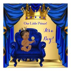 baby shower boy little prince royal blue golden card | christening, Baby shower invitations