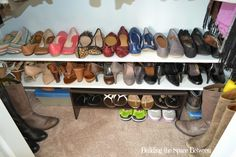 Inexpensive shelving helps organize and display shoes while maximizing the function of a small closet.