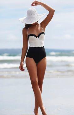 S xl monokini one piece swimsuit maiôs modestos juniores floral swimwear uma… Push Up Swimsuit, One Piece Swimsuit Slimming, Bikini Swimsuit, Bikini Beach, Bikini Mayo, Bikini 2017, Striped Swimsuit, Black And White One Piece, Fashion Clothes