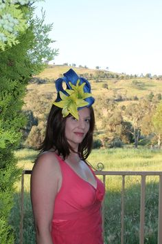 AMELIA Blue headpiece with yellow flowers by leahjustsopretty, $130.00