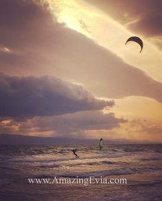 Kite surfing in Evia