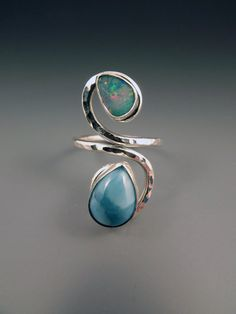 Opal and Larimar Stone Woman's Ring