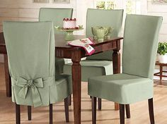 Sure-Fit-Kitchen-Dining-Side-Chair-Sage-Slip-Cover-Armless-Cotton-42-NEW-I5275