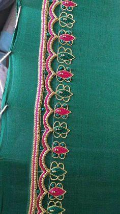 Cutwork Blouse Designs, Pattu Saree Blouse Designs, Simple Blouse Designs, Chudidhar Neck Designs, Blouse Neck Designs, Sleeve Designs, Embroidery On Clothes, Embroidery Works, Simple Embroidery Designs