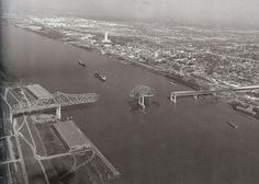 Baton Rouge, 1966, showing the I-10 bridge being built