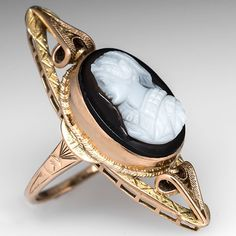 Love this!!! Victorian Era Antique Sardonyx Cameo Cocktail Ring Solid 14K Gold. This lovely antique victorian era cocktail ring features a large diamond shape top with a centered sardonyx agate cameo. This ring is crafted of solid 14k gold