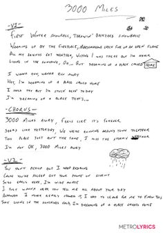 "Emblem3's Handwritten Lyrics to ""3000 Miles"", penned by Wesley!"