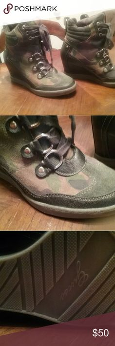 Guess Camo Wedge boots Never been worn. Approx 3 inch heel. Camo. Size 8 1/2. Guess Guess Shoes Lace Up Boots