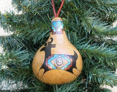 Southwestern Hand-painted Large Gourd Christmas Ornament Deer Southwest Petroglyph Inspired #701