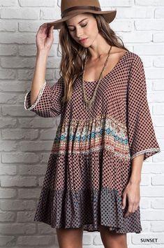 Kelly Brett Boutique: Women's Online Clothing Boutique - Boho Peasant Dress Sunset, $36.00 (http://www.kellybrettboutique.com/boho-peasant-dress-sunset/)