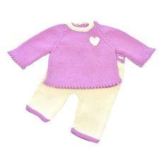 Conjunto Bebé niña, jersey, pantalón, manga larga, hecho a mano, lana merino, algodón, invierno, primavera, otoño by Puntoapuntobebeymas on Etsy