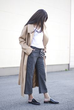OUTFIT   LONG CAMEL COAT + BACKLESS LOAFERS Fashionlandscape waysify