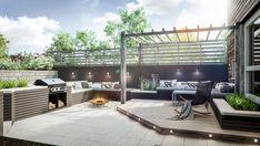 Bilderesultat for rekkverk glass og tre Outdoor Areas, Outdoor Rooms, Outdoor Decor, Scandinavian Garden, Villa, Backyard, Patio, Pergola, Planters