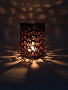Luminária - Crochê - Reciclagem Vidro Facebook - O Quintal da Jacque