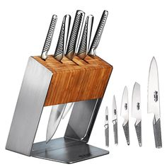 """Global knives are the choice for chefs around the world. The sleek, seamless knives are constructed from a single piece of CROMOVA stainless steel to eliminate food traps and give you unmatched agility. 6-Piece Set Includes: 8"""" chef's knife,  5½"""" nakiri vegetable knife,  4¼"""" utility knife,  6"""" serrated utility knife,  3"""" paring knife,  Bamboo and stainless-steel block"""
