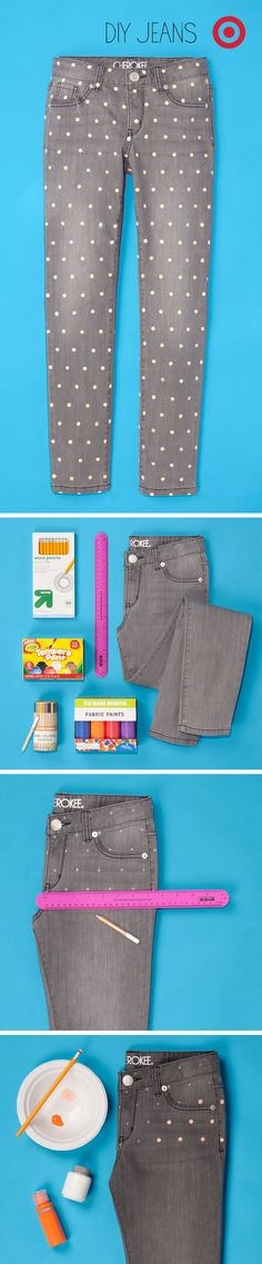 Kids' jeans become stylish, polka dot denim with just a little fabric paint! | via Target
