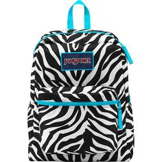 JanSport Overexposed Backpack - Miss Zebra / Mammoth Blue - School... (€26) ❤ liked on Polyvore featuring bags, backpacks, black, school & day hiking backpacks, zipper bag, jansport rucksack, zebra print backpack, padded backpack and blue zebra backpack