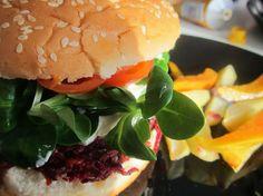 at home: veggie burgers.