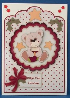 Baby s First Christmas Teddy Scallop Top Card Front on Craftsuprint designed by Karen Adair - made by Cheryl French - Printed onto glossy photo paper. ttached base image using ds tape. Built up image with 1mm foam pads. Added star gems to top corners. - Now available for download!