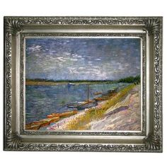Rosecliff Heights 'View of a River with Rowing Boats' by Vincent Van Gogh Framed Oil Painting Print on Canvas Size: