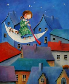 "Saatchi Art Artist Iwona Lifsches; Painting, ""Ulla Plays Lullaby for a Homeless Cat, SOLD"" #art"