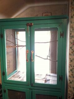 How to make a DIY aviary or bird cage from an old TV cabinet / armoire / piece of furniture - my Hubpages article Well now there is an idea. Diy Bird Cage, Bird Cages, Chinchillas, Pretty Birds, Beautiful Birds, Bird House Kits, Bird Aviary, Pet Furniture, Painted Furniture