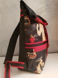 Sac à dos Troïka noir et rouge illustré cousu par Fred Patron Sacôtin