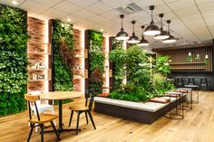 Coordinated illustration 046 Spending time with green creating an office Ligna is part of Green wall design - Restaurant Interior Design, Office Interior Design, Luxury Interior Design, Interior Shop, Decoration Restaurant, Deco Restaurant, Bamboo Restaurant, Coffee Shop Design, Cafe Design
