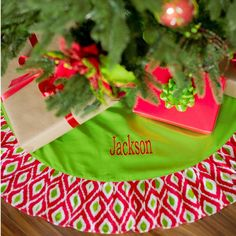 Personalized Holiday Ikat Tree Skirt