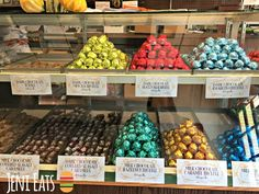 A rainbow of hand-wrapped chocolates and caramels from 90-year old candy shop and diner Costa's Candies in Owatonna, Minnesota.