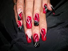 red nail art images | Black, White & Red - Nail Art Gallery
